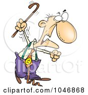 Royalty Free RF Clip Art Illustration Of A Cartoon Grumpy Old Man Waving His Cane