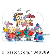 Cartoon Family Singing Christmas Carols