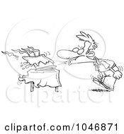 Royalty Free RF Clip Art Illustration Of A Cartoon Black And White Outline Design Of A Man Blowing Out The Candles On His Birthday Cake