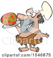Royalty Free RF Clip Art Illustration Of A Cartoon Caveman Chef Serving An Egg by toonaday