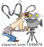 Royalty Free RF Clip Art Illustration Of A Cartoon Camera Man With Crazy Film
