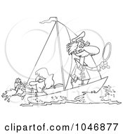 Royalty Free RF Clip Art Illustration Of A Cartoon Black And White Outline Design Of A Woman Scooping Buckets Of Water Out Of A Sailboat