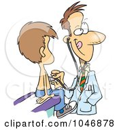 Royalty Free RF Clip Art Illustration Of A Cartoon Pediatrician With A Client by toonaday
