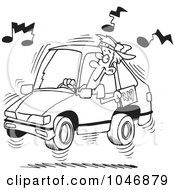 Cartoon Black And White Outline Design Of A Man Blaring Rap Music In His Car