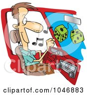 Royalty Free RF Clip Art Illustration Of A Cartoon Man Listing To Tunes In His Car by toonaday