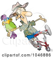 Royalty Free RF Clip Art Illustration Of A Cartoon Carefree Man On A Bike With A Parrot by toonaday