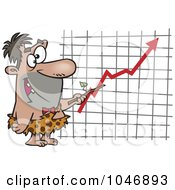Royalty Free RF Clip Art Illustration Of A Cartoon Caveman Executive Pointing To A Chart by toonaday