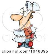 Royalty Free RF Clip Art Illustration Of A Cartoon Cautious Man Wearing Pillows