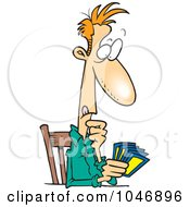 Royalty Free RF Clip Art Illustration Of A Cartoon Man Holding A Hand Of Cards by toonaday