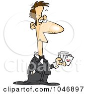 Royalty Free RF Clip Art Illustration Of A Cartoon Casino Man Holding Playing Cards by toonaday