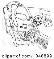 Cartoon Black And White Outline Design Of A Man Listing To Tunes In His Car