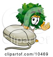 Clipart Picture Of A Tree Mascot Cartoon Character With A Computer Mouse