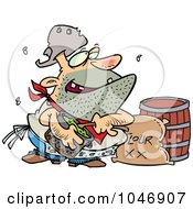 Royalty Free RF Clip Art Illustration Of A Cartoon Stinky Camp Cook by toonaday
