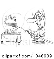 Royalty Free RF Clip Art Illustration Of A Cartoon Black And White Outline Design Of A Fireman Extinguishing A Birthday Cake by toonaday