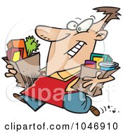Royalty Free RF Clip Art Illustration Of A Cartoon Man Carrying Out Groceries