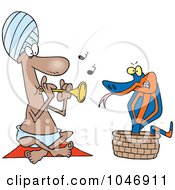 Royalty Free RF Clip Art Illustration Of A Cartoon Snake Charmer by toonaday