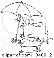 Royalty Free RF Clip Art Illustration Of A Cartoon Black And White Outline Design Of A Man Catching Raindrops In His Hand
