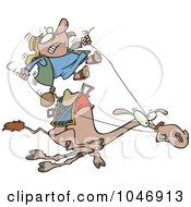 Royalty Free RF Clip Art Illustration Of A Cartoon Man Riding A Fast Camel