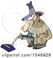 Royalty Free RF Clip Art Illustration Of A Cartoon Sneaky Man Using A Vacuum by toonaday