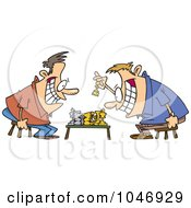 Royalty Free RF Clip Art Illustration Of Cartoon Guys Playing Chess by toonaday