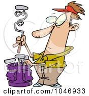 Royalty Free RF Clip Art Illustration Of A Cartoon Golfer With A Twisted Club