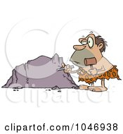 Cartoon Caveman Chiseling A Boulder