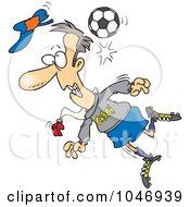 Royalty Free RF Clip Art Illustration Of A Cartoon Soccer Ball Hitting A Coach by toonaday