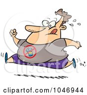 Royalty Free RF Clip Art Illustration Of A Cartoon Chubby Man Running