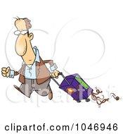 Cartoon Man Hauling Spaghetti In His Suitcase
