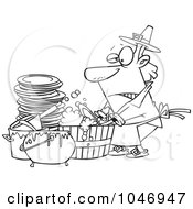 Royalty Free RF Clip Art Illustration Of A Cartoon Black And White Outline Design Of A Man Washing Dishes In A Barrel by Ron Leishman