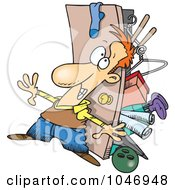 Royalty Free RF Clip Art Illustration Of A Cartoon Hoarder Man With A Full Closet