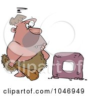 Royalty Free RF Clip Art Illustration Of A Cartoon Caveman Trying To Create A Wheel by toonaday