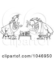 Royalty Free RF Clip Art Illustration Of A Cartoon Black And White Outline Design Of Guys Playing Chess by toonaday