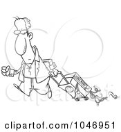 Cartoon Black And White Outline Design Of A Man Hauling Spaghetti In His Suitcase
