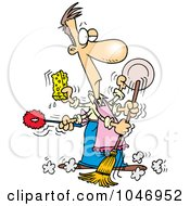 Royalty Free RF Clip Art Illustration Of A Cartoon Man Spring Cleaning by toonaday