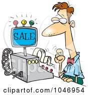 Royalty Free RF Clip Art Illustration Of A Cartoon Man Ringing In A Sale by toonaday