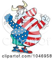 Royalty Free RF Clip Art Illustration Of A Cartoon Proud American by Ron Leishman