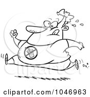 Royalty Free RF Clip Art Illustration Of A Cartoon Black And White Outline Design Of A Chubby Man Running