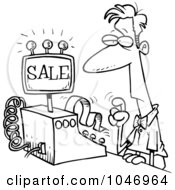 Royalty Free RF Clip Art Illustration Of A Cartoon Black And White Outline Design Of A Man Ringing In A Sale