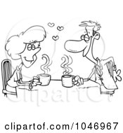 Cartoon Black And White Outline Design Of Coffee Lovers On A Date