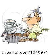 Royalty Free RF Clip Art Illustration Of A Cartoon Man Washing Dishes In A Barrel by toonaday