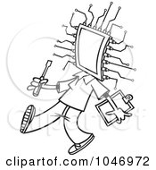 Royalty Free RF Clip Art Illustration Of A Cartoon Black And White Outline Design Of A Chip Head