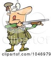Royalty Free RF Clip Art Illustration Of A Cartoon Man Shooting Clay Pigeons