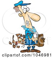 Royalty Free RF Clip Art Illustration Of A Cartoon Dog Biting A Mail Man by toonaday