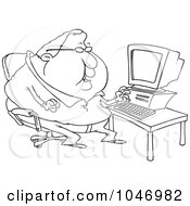 Royalty Free RF Clip Art Illustration Of A Cartoon Black And White Outline Design Of A Fat Computer Potato Man