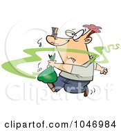 Royalty Free RF Clip Art Illustration Of A Cartoon Man Taking Out Smelly Garbage