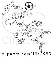 Royalty Free RF Clip Art Illustration Of A Cartoon Black And White Outline Design Of A Soccer Ball Hitting A Coach by toonaday