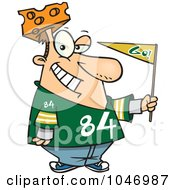 Royalty Free RF Clip Art Illustration Of A Cartoon Cheese Head Sports Fan by toonaday
