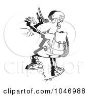 Cartoon Black And White Outline Design Of A Mountain Climber