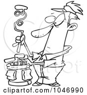 Royalty Free RF Clip Art Illustration Of A Cartoon Black And White Outline Design Of A Golfer With A Twisted Club
